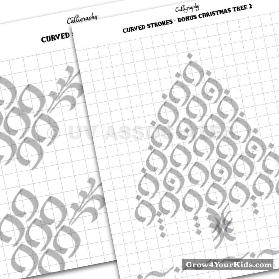 This Christmas tree is made from entirely the curved strokes you get to practice in this worksheets.