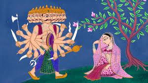Ravan and Sita  in Ashok Vatika .