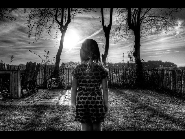 Little Girl - thinking alone