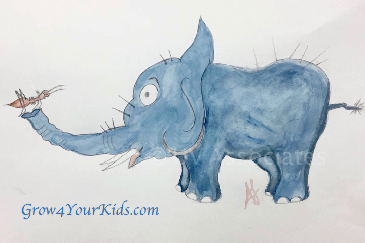 Watercolor Elephant and Ant